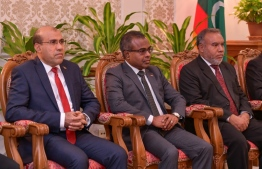 Chief Justice Dr Ahmed Abdulla Didi (M) and judges Abdulla Areef (L) and Adam Mohamed Abdulla of the Supreme Court. PHOTO: NISHAN ALI / MIHAARU