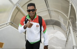 Athlete Hassan Saaid departing to participate in the Indian Ocean Island Games. PHOTO: MALDIVES OLYMPIC COMMITTEE (MOC)