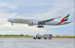 An emirates flight. PHOTO: HUSSAIN WAHEED/MIHAARU