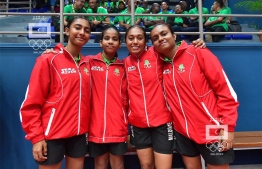 Maldives Women's Table Tennis Team at Indian Ocean Island Games (IOIG) 2019. PHOTO: MALDIVES OLYMPIC COMMITTEE (MOC)