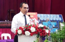 Minister of Communication, Science and Technology Maleeh Jamaal speaking at the inauguration ceremony of Hiriya School's science fair. PHOTO: HIRIYA SCHOOL