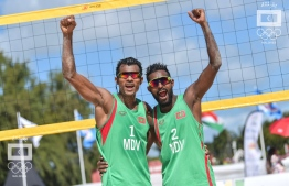 Maldives' beach volleyball pair Shiuzaan Abdul Waheed (L) and Adam Naseem (R) won bronze against Mauritius on Wednesday. PHOTO: NISHAN ALI / MALDIVES OLYMPICS COMMITTEE