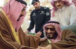 Saudi Arabia's Prince Bandar bin Abdul Aziz Al-Saud (R) with King Salman. (Supplied)