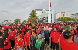 Citizens congregate at the republic square to welcome Maldives national athletic delegation for IOIG 2023. PHOTO: MIHAARU.