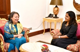 UNICEF's Regional Director for South Asia Jean Gough, paid a courtesy call on First Lady Fazna Ahmed. PHOTO: PRESIDENT'S OFFICE