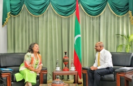 UNICEF Regional Director for South Asia Jean Gough meets Minster of Foreign Affairs Abdulla Shahid. PHOTO: FOREIGN MINISTRY