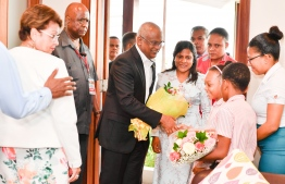 President Ibrahim Mohamed Solih and First Lady Fazna Ahmed arrive in Seychelles on state visit. PHOTO: PRESIDENT'S OFFICE.