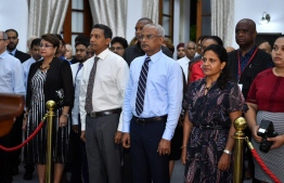 President Ibrahim Mohamed Solih and First Lady Fazna Ahmed at the banquet held in their honour. PHOTO: PRESIDENCY MALDIVES
