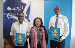 Manta Air CEO Mohamed Khaleel (L), UNICEF Regional Director for South Asia Jean Gough (C) and UNICEF Representative to Maldives Dr Munir Safieldin. PHOTO: MANTA AIR