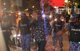 Maldives Police Service documented with former vice president Ahmed Adeeb upon arrival in capitcal city Male'. PHOTO: SOCIAL MEDIA