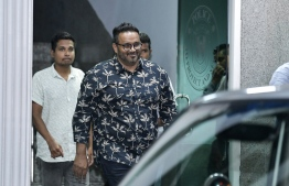 Former vice president Ahmed Adeeb pictured exiting the Maldives Police Service headquarters. PHOTO: NISHAN ALI / MIHAARU