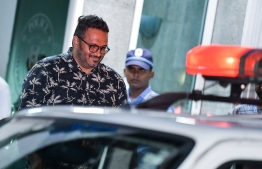 Former Vice President Ahmed Adeeb attending his remand hearing on Monday night. Criminal Court remanded the ex-VP for a period of 15 days. PHOTO: NISHAN ALI/ MIHAARU