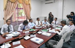 The Parliament's Public Finance Committee during a meeting held in February 2020. On 18 May, the committee decided on MVR 35,000 as a salary for the Children's Ombudsman, a position stipulated by the Child Rights Protection Act that came into effect earlier this year. PHOTO: MIHAARU
