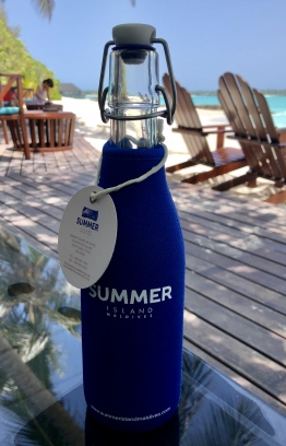 Summer Island Maldives has started to use reusable bottles to serve water on speed boars instead of the plastic bottles. PHOTO: SUMMER ISLAND RESORT