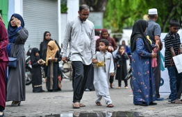 Eid Al-Adha begins with families flooding the streets in the morning, headed for Eid prayer, dressed in their new Eid clothes. PHOTO: NISHAN ALI/ MIHAARU