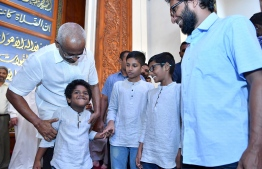 President Ibrahim Mohamed Solih greeting members of the public after Eid prayers. PHOTO: PRESIDENT'S OFFICE