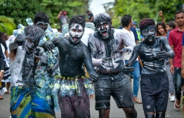 Children dressed up as 'Maali' parading on the streets of Hulhumale'. 'Maali' (loosely translated to monsters) is an integral part of Eid celebrations. PHOTO: NISHAN ALI/ MIHAARU