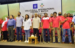 President Ibrahim Mohamed Solih observes international friendly volleyball match between national teams of Maldives and Sri Lanka. PHOTO: PRESIDENT'S OFFICE.
