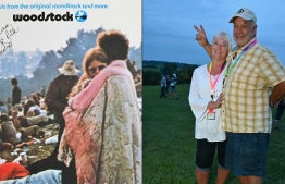 """This combination of pictures created on August 16, 2019 shows live album (L) of """"Woodstock: Music from the Original Soundtrack and More"""" features couple Bobbi and Nick Ercoline on the cover and the same Bobbi and Nick Ercoline, posing 50 years later at Bethel Woods Center for the Arts on August 15, 2019 in Bethel, New York. - Nick and Bobbi Ercoline had only been dating three months when they joined flocks of their peers for the 1969 Woodstock blow-out that would become emblematic of their generation. PHOTO: ANGELA WEISS / AFP"""