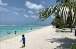 Photograph of a beach in the greater Male' region. PHOTO: MIHAARU FILES