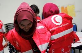 Women humanitarian personnel of the Maldivian Red Crescent. PHOTO/MRC