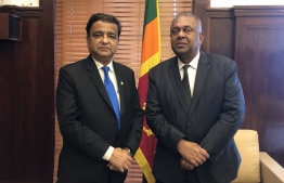 SAARC Development Fund (SDF)'s CEO Dr Sunil Motiwal and Sri Lankan Finance Minister Mangala Samaraweera. PHOTO: SAARC DEVELOPMENT FUND