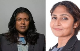 Dr Azmiralda Zahir (R) and Aisha Shujoon Mohamed, the two judges nominated for the Supreme Court bench by President Ibrahim Mohamed Solih. PHOTO: MIHAARU FILES