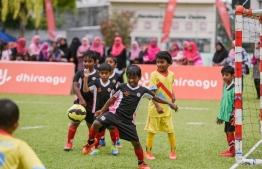 A young participant in the Dhiraagu Pre-School Football Festival 2019. PHOTO: DHIRAAGU