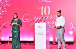 Ali Muaz (R) and Fathimath Hishmath Faiz, the co-founders of Tiny Hearts of Maldives, host the Charity Event held to mark the 10th anniversary of the NGO. PHOTO/PRESIDENT'S OFFICE