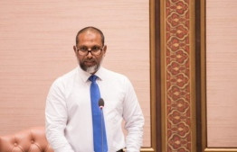 Minister of Home Affairs Imran Abdulla speaks at a parliament sitting. PHOTO/MAJILIS