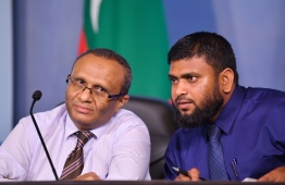 President of the Commission on Investigations of Murders and Enforced Disappearances Husnu Al Suood (L) and member Misbah Abbas speaking at a press conference. PHOTO: MIHAARU