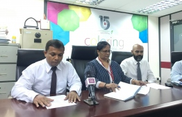 Top officials of Housing Development Corporation (HDFC) speaking at the press conference held to announce selling bonds. PHOTO: MIHAARU