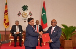 Exchange of Cooperation Agreement and MoU's signed between Maldives and Sri Lanka. PHOTO: PRESIDENTS OFFICE