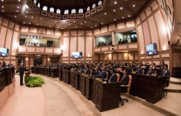 Sri Lanka Prime Minister Ranil Wickremesinghe addresses the Maldivian parliament. PHOTO/MAJILIS