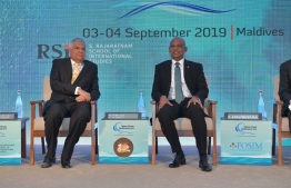 Sri Lankan Prime Minister and Conference Chair Ranil Wickremesinghe (L) and President Ibrahim Mohamed Solih during the inaugural session. PHOTO: INDIA FOUNDATION