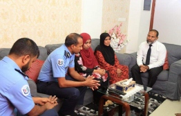 Commissioner of Police Mohamed Hameed and Minister of Home Affairs Imran Abdullla visited Rilwan's family. PHOTO: MALDIVES POLICE SERVICE