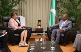 Minister of Foreign Affairs of the Republic of Maldives Abdulla Shahid meets with Macsuzy Mondon, Designated Minister and Minister for Local Government and Home Affairs Risk and Disaster Management, Department of Youth, Sports and Culture of the Republic of Seychelles. PHOTO: FOREIGN MINISTRY