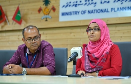 During the signing ceremony held between Ministry of National Planning and Infrastructure, and MTCC to award a development project. PHOTO: HUSSAIN WAHEED / MIHAARU