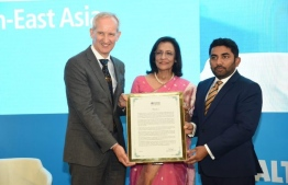 Maldives' Minister of Health Abdulla Ameen was presented a citation for eliminating mother-to-child transmission of HIV and Syphilis. PHOTO: WORLD HEALTH ORGANISATION REGIONAL OFFICE FOR SOUTH-EAST ASIA