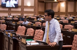 Hoarafushi MP Ahmed Saleem speaking at a parliament session. He submitted a resolution calling for Maldives to advocate in the fight against climate change in the international community. PHOTO: PARLIAMENT