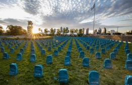 United Nations Children's Fund (UNICEF) installation demonstrating the scale of child death in conflict zones during 2018. PHOTO: UNICEF