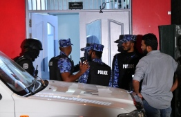 Maldives Police Service officers during a special operation conducted as part of the investigation into missing journalist Ahmed Rilwan's case. PHOTO: MIHAARU