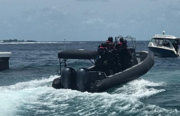 Marine vessels of Maldives Police Service conducting investigations at sea as per the presidential Commission on Investigation of Murders and Enforced Disappearances' request. PHOTO: POLICE
