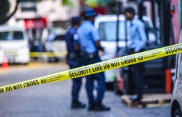 A street blocked off by Maldives Police Service to preserve a crime scene for their investigations and to conduct their inquiries. PHOTO: HUSSAIN WAHEED/MIHAARU