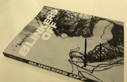 'Blinkers Off', the book by local artist Ikram Abdulla containing artwork from his ink and charcoal series including those displayed in the ongoing exhibition at Avahtehi Gallery. PHOTO: AVAHTEHI GALLERY