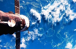 The International Space Station flies over Maldives in 2012. PHOTO: ANDRÉ KUIPERS / EUROPEAN SPACE AGENCY