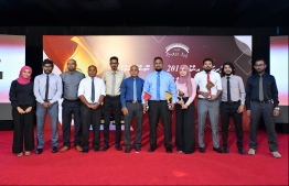 Winners and journalists of Mihaaru newspaper pose at the Maldives Journalism Awards 2018, organised by Maldives Media Council, on September 15, 2019.