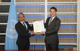 Attorney General (AG) Ibrahim Riffath signs the United Nations Convention on the Recognition and Enforcement of Foreign Arbitral Awards (New York Convention) on behalf of the government. PHOTO: TWITTER