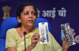 Indian Finance Minister Nirmala Sitharaman announced the ban on Wednesday. PHOTO: MIHAARU FILES