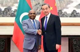 Minister of Foreign Affairs Abdulla Shahid meets his Chinese counterpart, State Counsellor and Minister of Foreign Affairs of China Wang Yi. PHOTO: FOREIGN MINISTRY